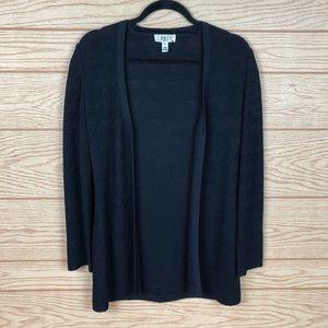 ST. JOHN Black Knit Button Front Cardigan